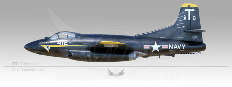 """F3D-2 Skyknight, VF-14 """"Tophatters"""", 1952"""