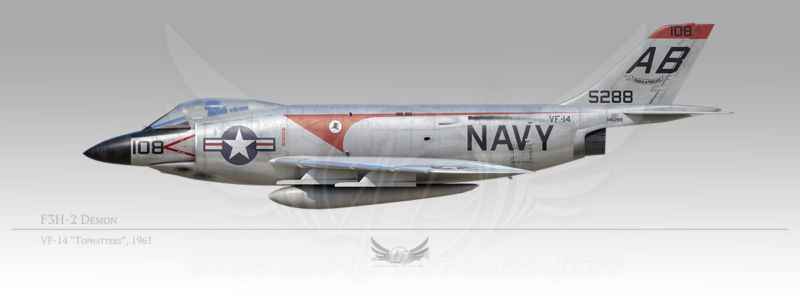 """F3H-2 Demon, VF-14 """"Tophatters"""", 1961"""