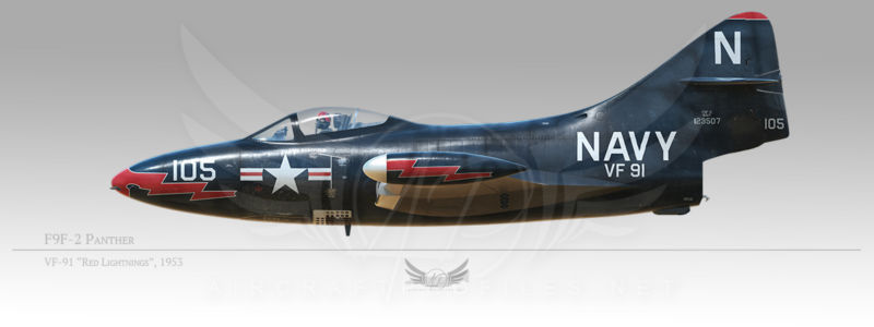 """F9F-2 Panther, VF-91 """"Red Lightnings"""", 1953"""