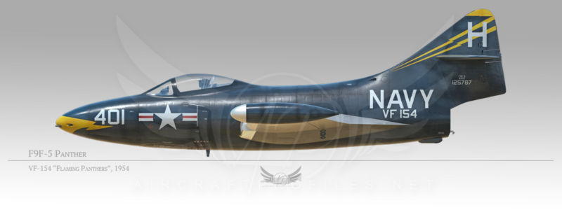 """F9F-5 Panthers, VF-154 """"Flaming Panthers"""", 1954"""