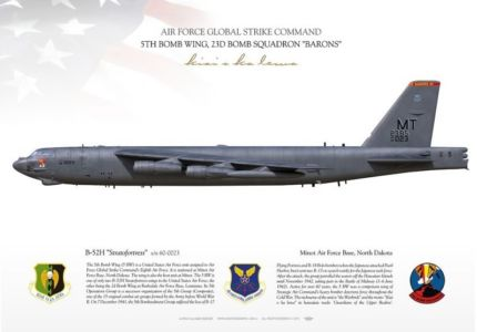 """B-52H Stratofortress """"Bomber Barons"""", 5th Bomb Wing, 23rd Bomb Squadron profil print by Aviationgraphic.com"""